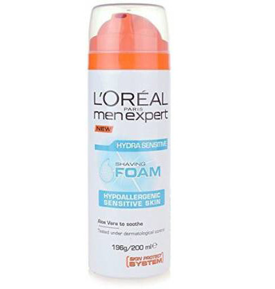 L'Oreal Paris Men Expert Hydra Sensitive Shaving Foam Without Alcohol  (200 ml)