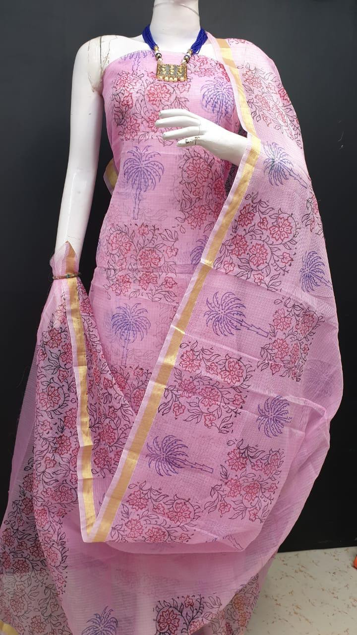 Kota Doria cotton top and dupatta combo