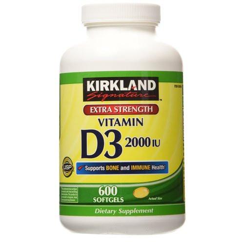 Kirkland Signature Maximum Strength Vitamin D3 2000 I.U. 600 Softgels, Bottle