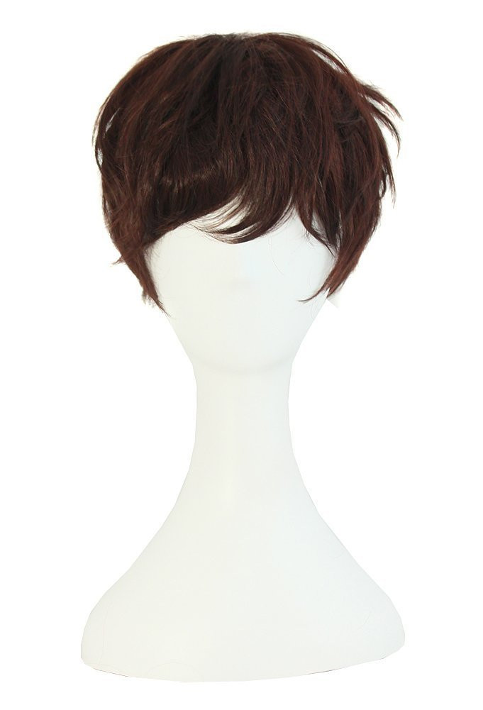 MapofBeauty Fashion Girl Natural Short Curly Wigs-Brown-Ladies