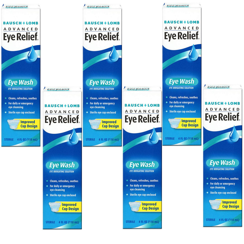 Bausch & Lomb Advanced Eye Relief Eye Wash, 4-Ounce Bottles (Pack of 6)
