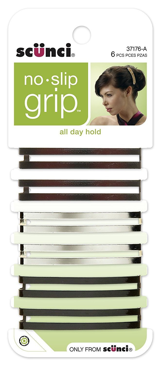 Scunci No-slip Grip Open Center Stay Tight Barrettes, 6-Count