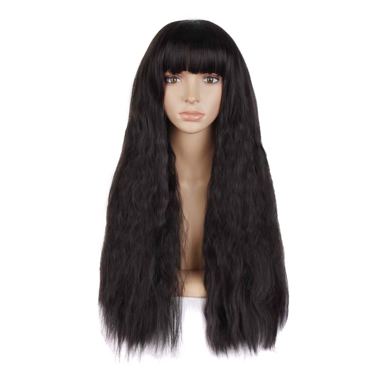 MapofBeauty Beautiful Women's Flat Bang Long Wave Curly Wig (Black)
