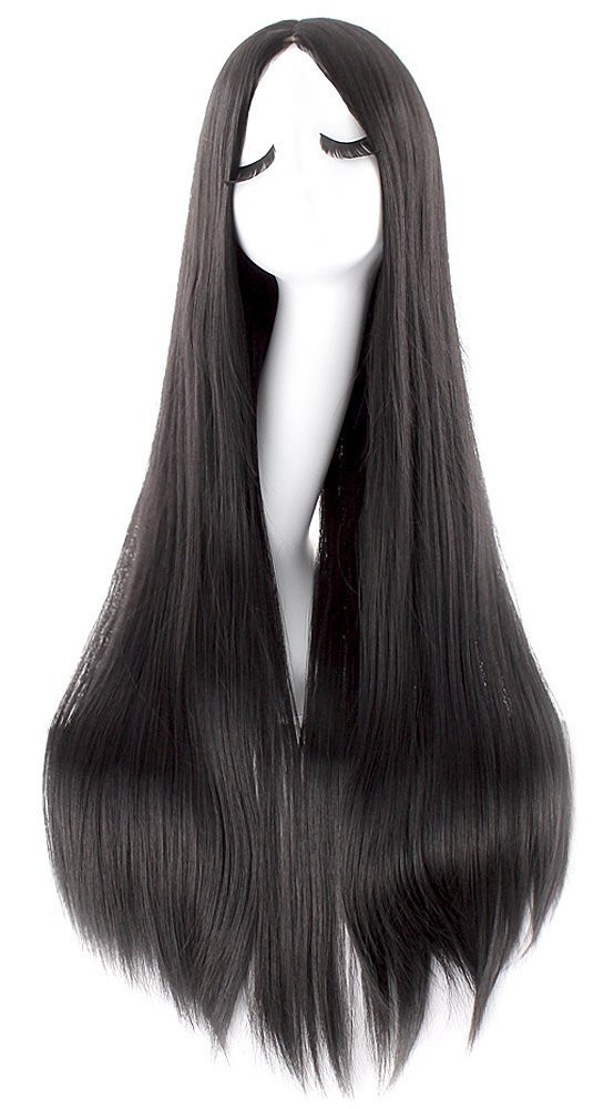 """MapofBeauty 40"""" 100cm Oblique Bangs Anime Costume Long Straight Cosplay Wig Party Wig (Black)"""