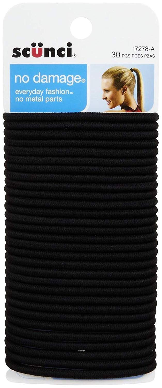 Scunci Black Elastic Hair Bands - 30 Count
