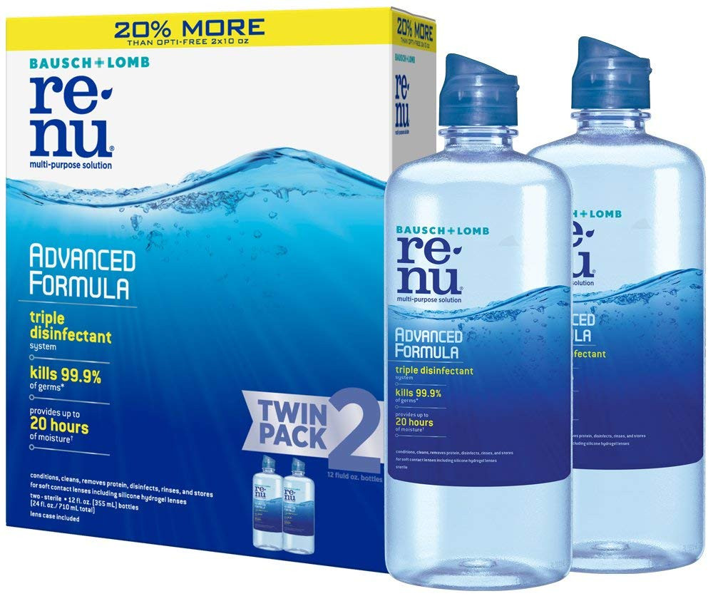 12 Ounce (Pack of 2) : Bausch + Lomb ReNu Advanced Triple Disinfect Formula Multi-Purpose Eye Contact Lens Solution 12 Fluid Ounces (Pack of 2)