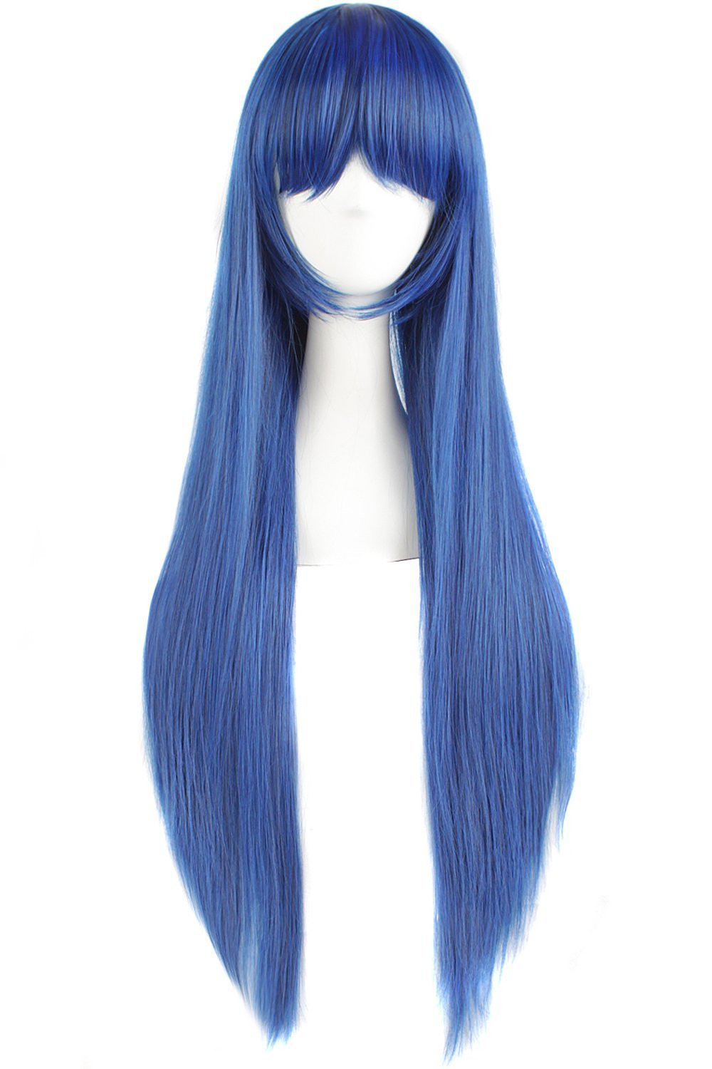 """MapofBeauty 32"""" 80cm Long Straight Anime Costume Cosplay Wig Party Wig (Dark Blue/ Black)"""