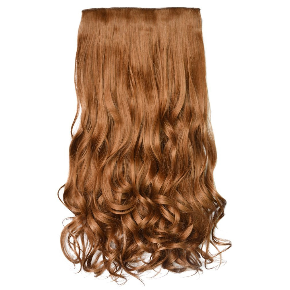 """Reecho 20"""" 1-Pack 3/4 Full Head Curly Wave Clips In On Synthetic Hair Extensions Hairpieces For Women 5 Clips 4.6 Oz Per Piece - Linen"""