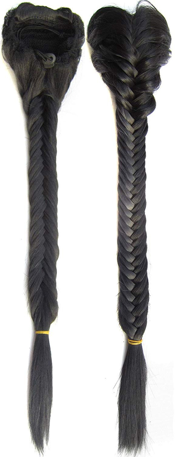 Off Black-1B# : SWACC Long Fishtail Braid Ponytail Extension Synthetic Clip in Drawstring Ponytail Hairpiece (Off Black-1B#)