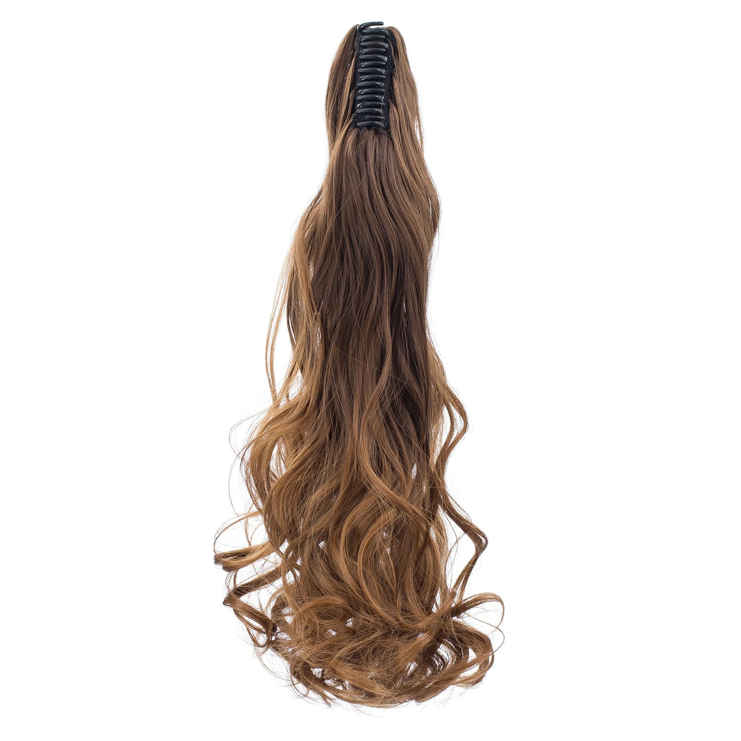 SWACC Long Curly Ombre Color Claw Clip Ponytail Extension Synthetic Clip in Ponytail Hairpiece Jaw Clip Hair Extensions (Brown Two-Tone)