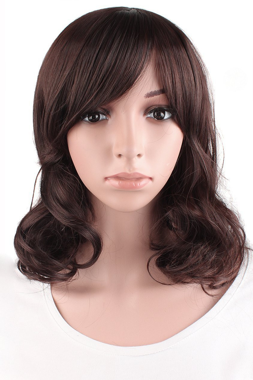 Mapofbeauty Fashion Girl Natural Short Curly Wigs-Brown