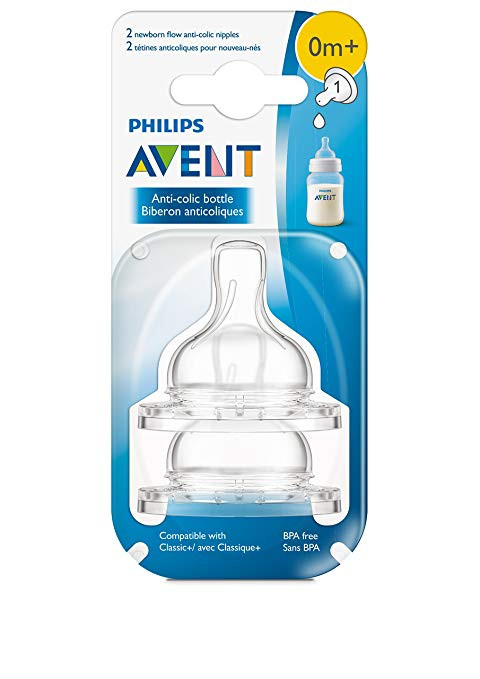 Philips AVENT Anti-Colic Nipple, Clear, Newborn (Pack of 2)