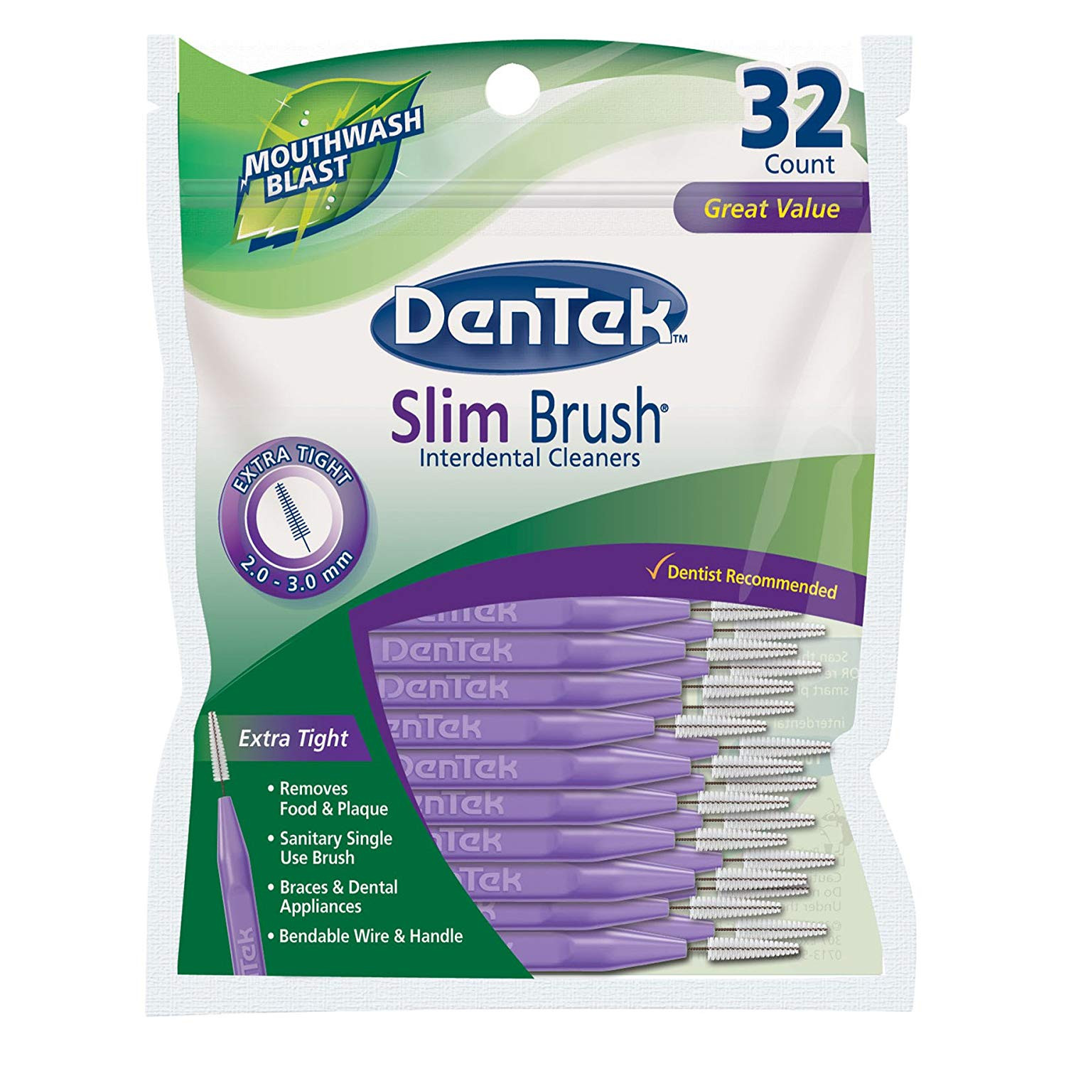 DenTek Slim Brush Interdental Cleansers, Extra Tight, Mouthwash Blast--32 ea