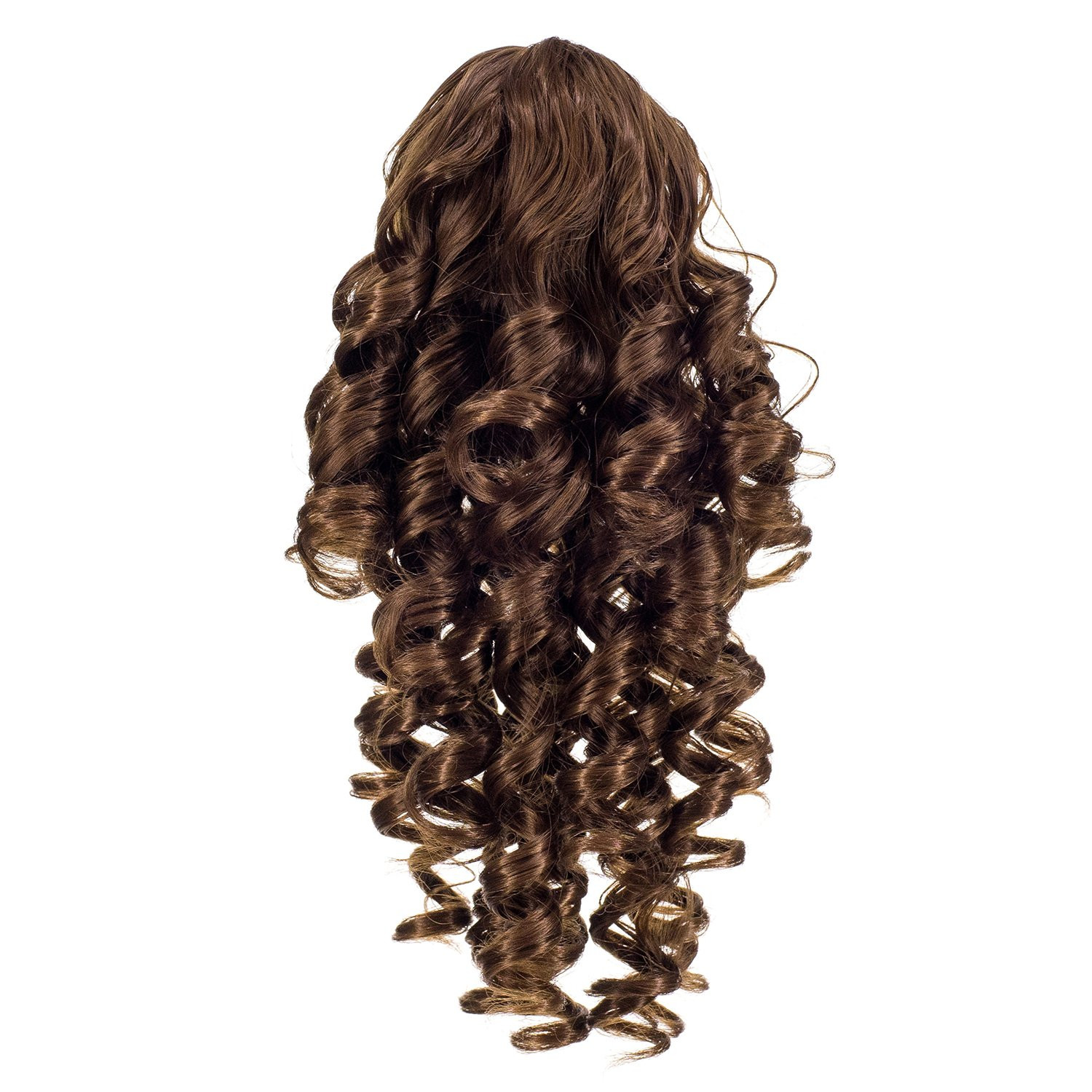 Light Brown-12# : SWACC 12-Inch Short Screw Curls Claw Clip Ponytail Extensions Synthetic Clip in Drawstring Curly Ponytail Hairpiece Jaw Clip Hair Extension (Light Brown-12#)