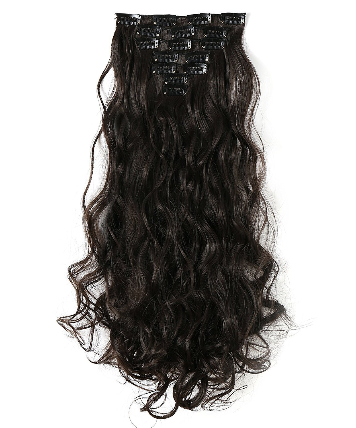 OneDor® 20 Inches Curly Full Head Clip in Synthetic Hair Extensions 7pcs 140g (4 -Dark Brown)