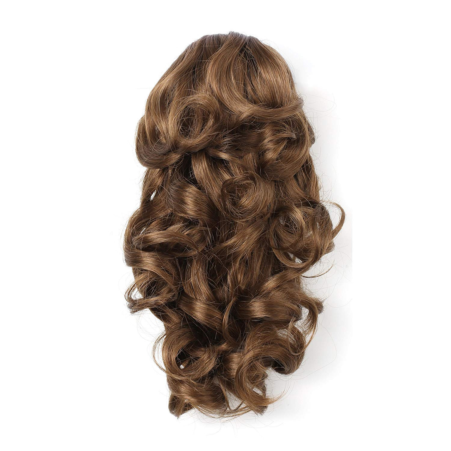 """OneDor 12"""" Curly Synthetic Clip In Claw Ponytail Hair Extension Synthetic Hairpiece 115g with a jaw/claw clip (12#-Light Brown)"""