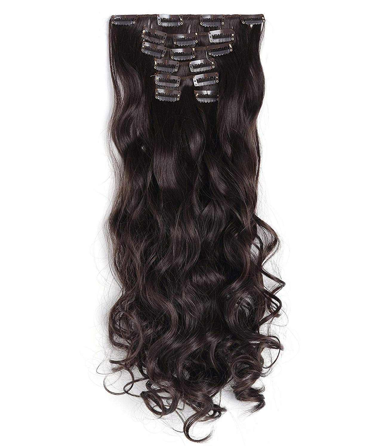 """OneDor® 20"""" Curly Full Head Clip in Synthetic Hair Extensions 7pcs 140g (6-Medium Chestnut Brown)"""