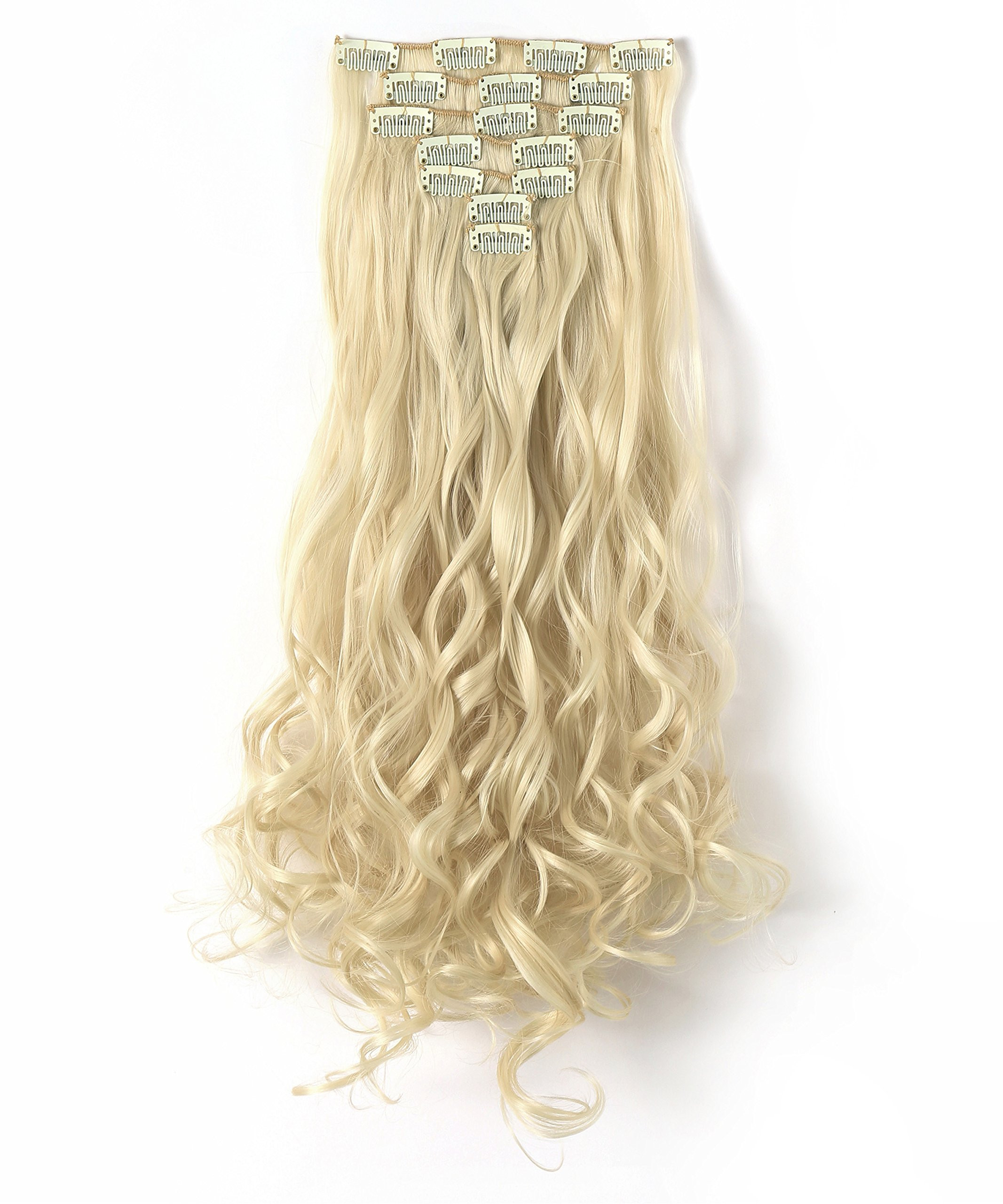"""OneDor 20"""" Curly Full Head Clip in Synthetic Hair Extensions 7pcs 140g (613#-Pre Bleach Blonde)"""