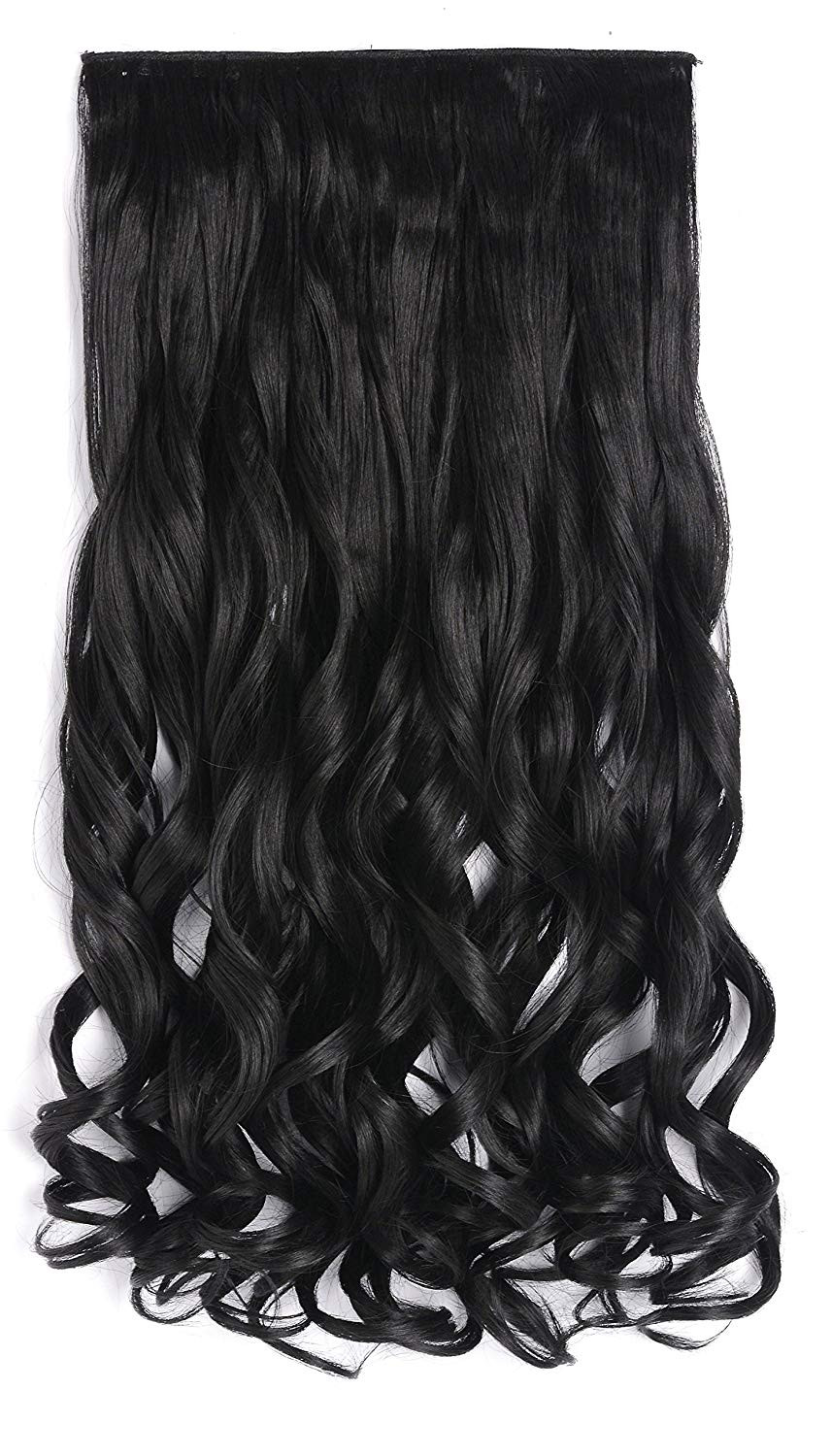 """OneDor 20"""" Curly 3/4 Full Head Synthetic Hair Extensions Clip On/in Hairpieces 140g 5 Clips (1b- Off Black)"""