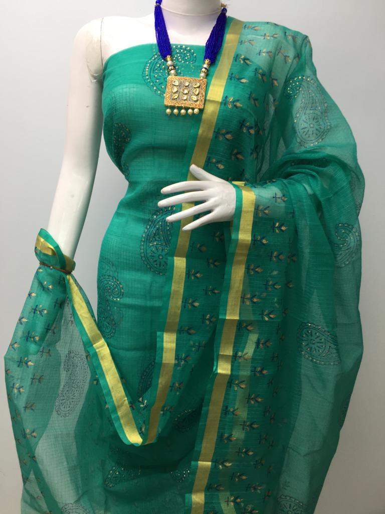 Kota Doria Dress Material (Without Bottom)