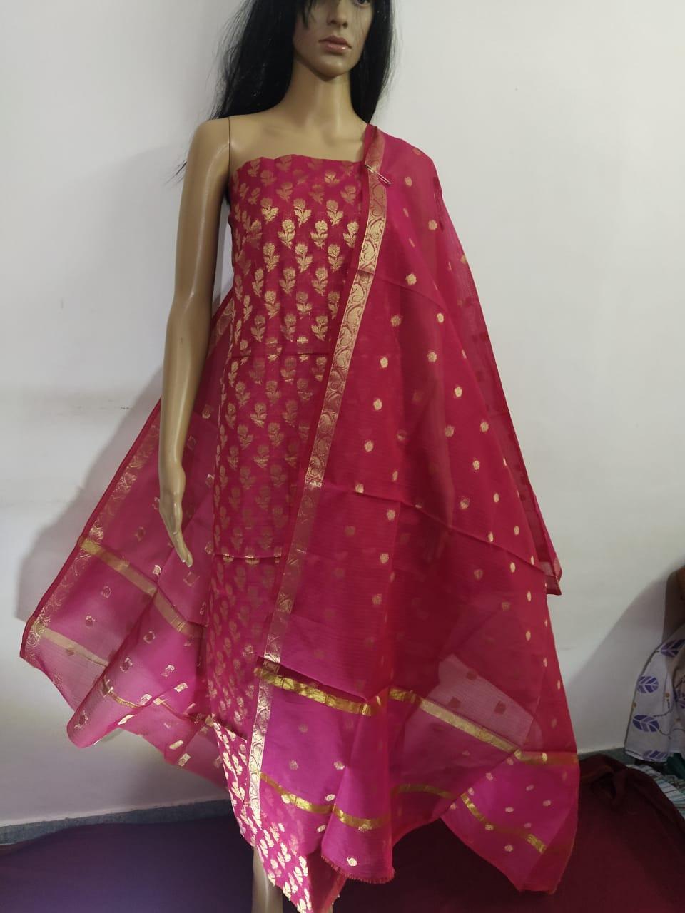 Kota Doria Zari Work Dress Material With Bottom