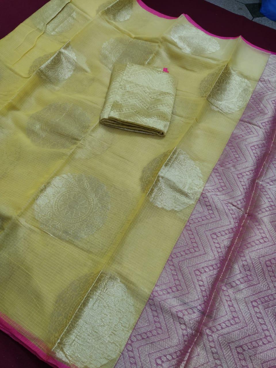 Kota Doria Heavy Bordered Cotton Saree