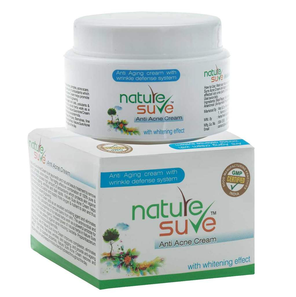 Nature Sure™ Herbal Anti-Acne Cream with Anti-Ageing Wrinkle Defense System - 50gm