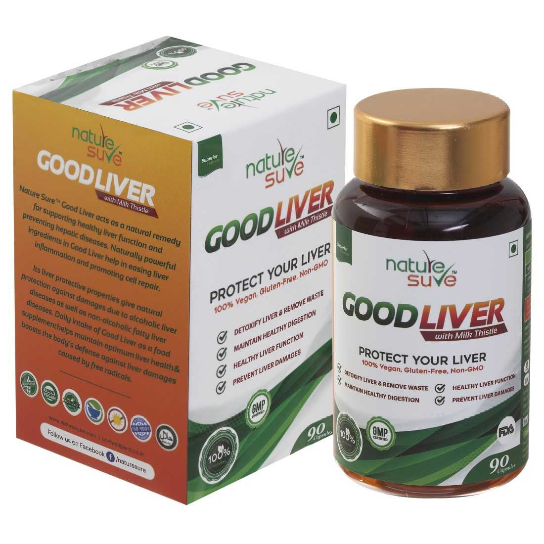 Nature Sure™ Good Liver Capsules With Milk Thistle 1 Pack (90 Capsules) – for promoting healthy digestion and natural protection against fatty liver