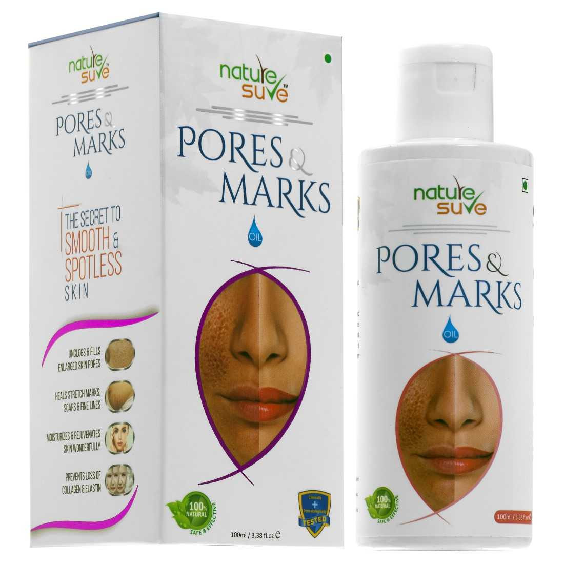 Nature Sure Pores and Marks Oil - 100ml – for enlarged skin pores, stretch marks and fine lines