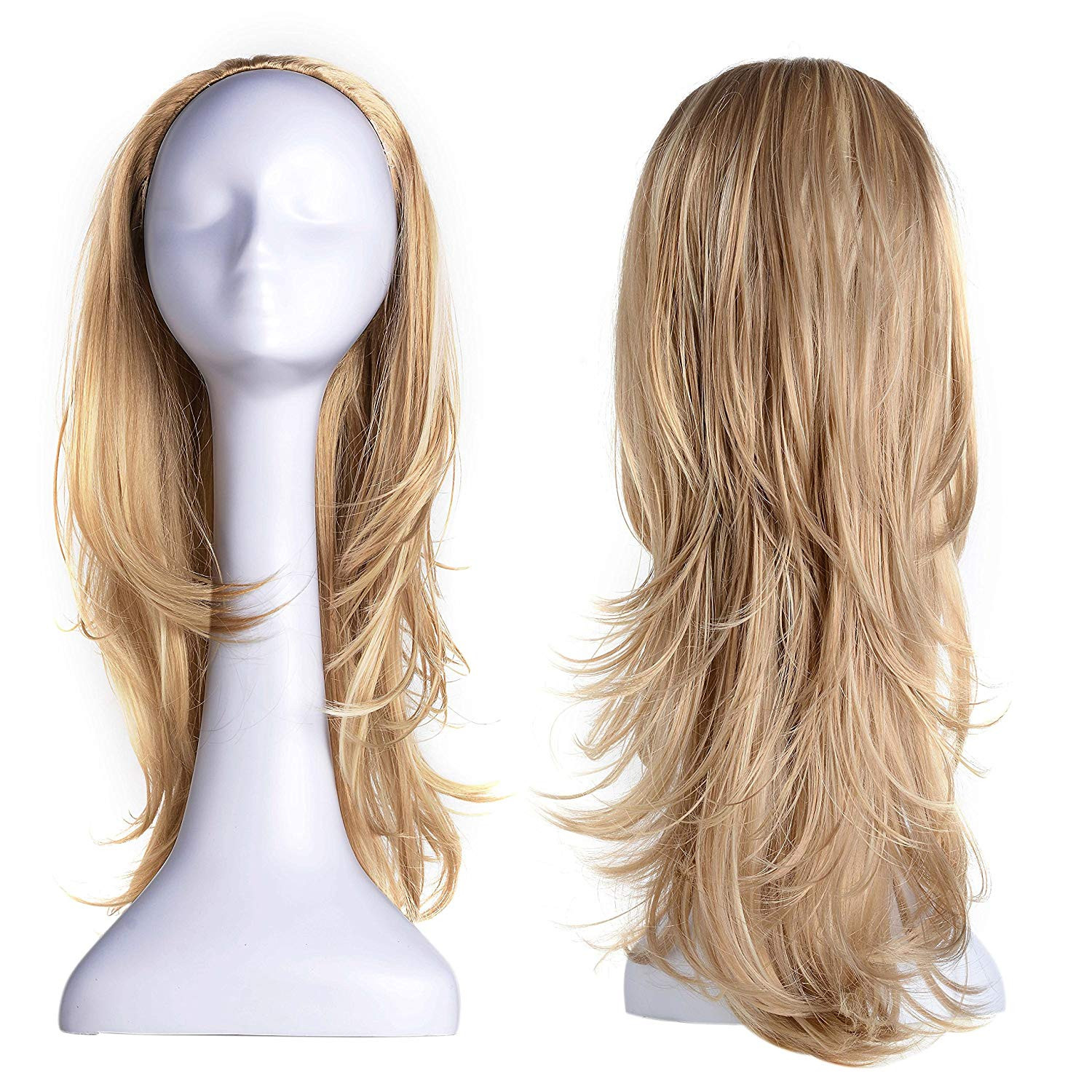 "OneDor 22"" Slight Curly 3/4 Ladies Half Wig Kanekalon Hair Synthetic Wigs with Comb on a mesh head cap (R1488H)"