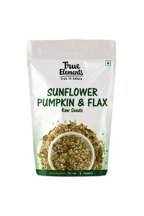 True Elements Raw Sunflower Pumpkin And Flax Seeds 150gm