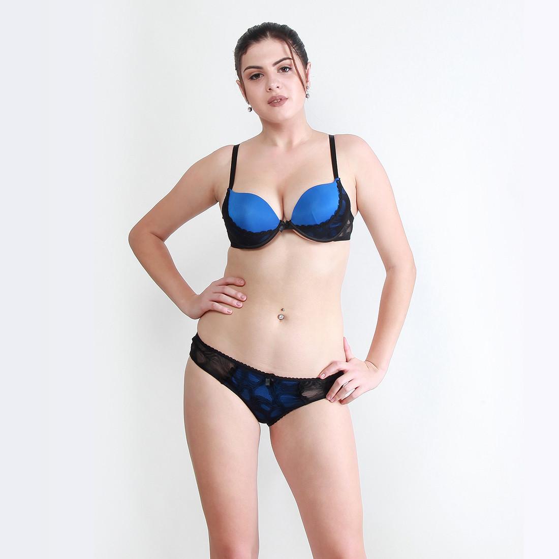 Makclan Zesty Tango 2Tone Aegean Azure Blue Lingerie Set