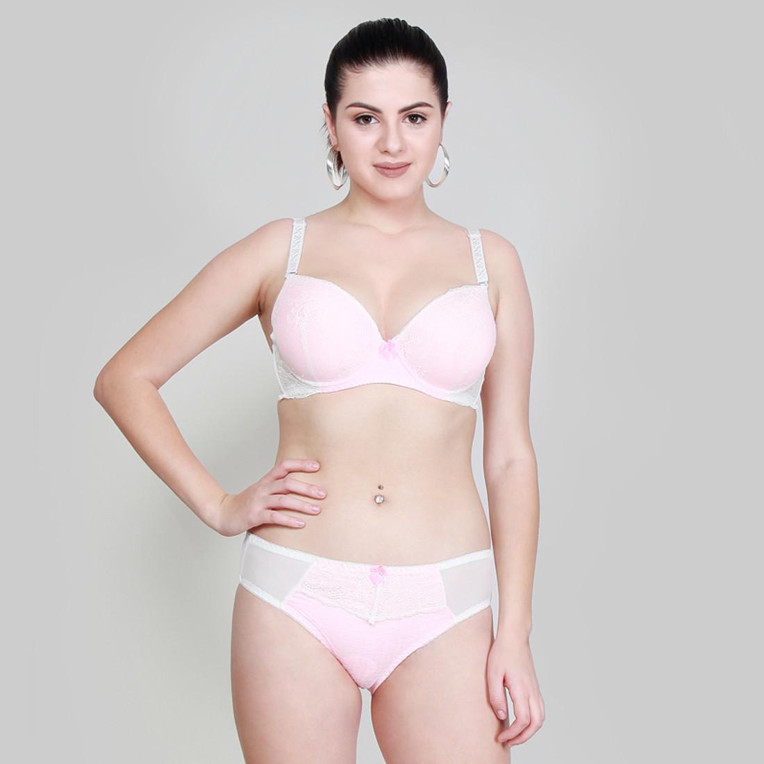 Makclan Plunge n Sheer Lace Ballet Slipper Pink Lingerie Set