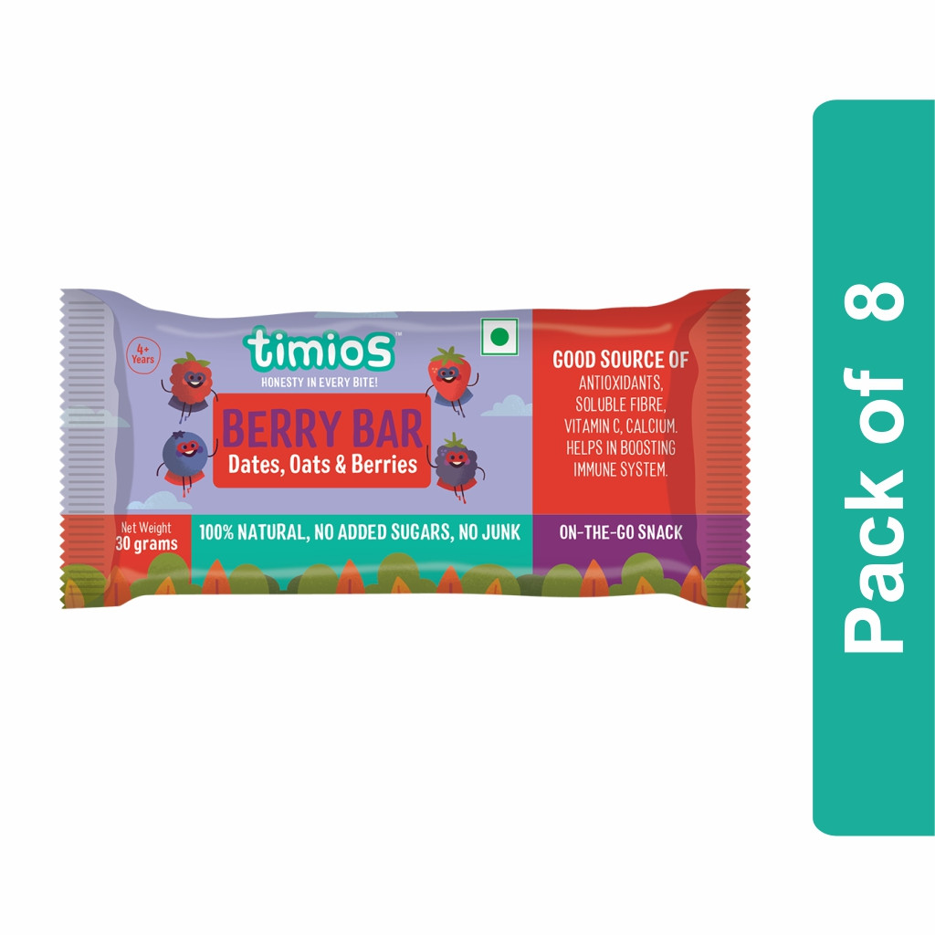 Timios Berry Energy Bar- Pack of 8