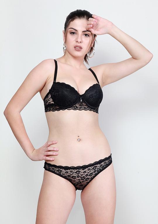 Makclan Plunge n Net Lace Licorice Black Lingerie Set
