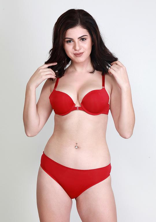 Makclan Sassy n Comfy Front Open Cherry Red Lingerie Set
