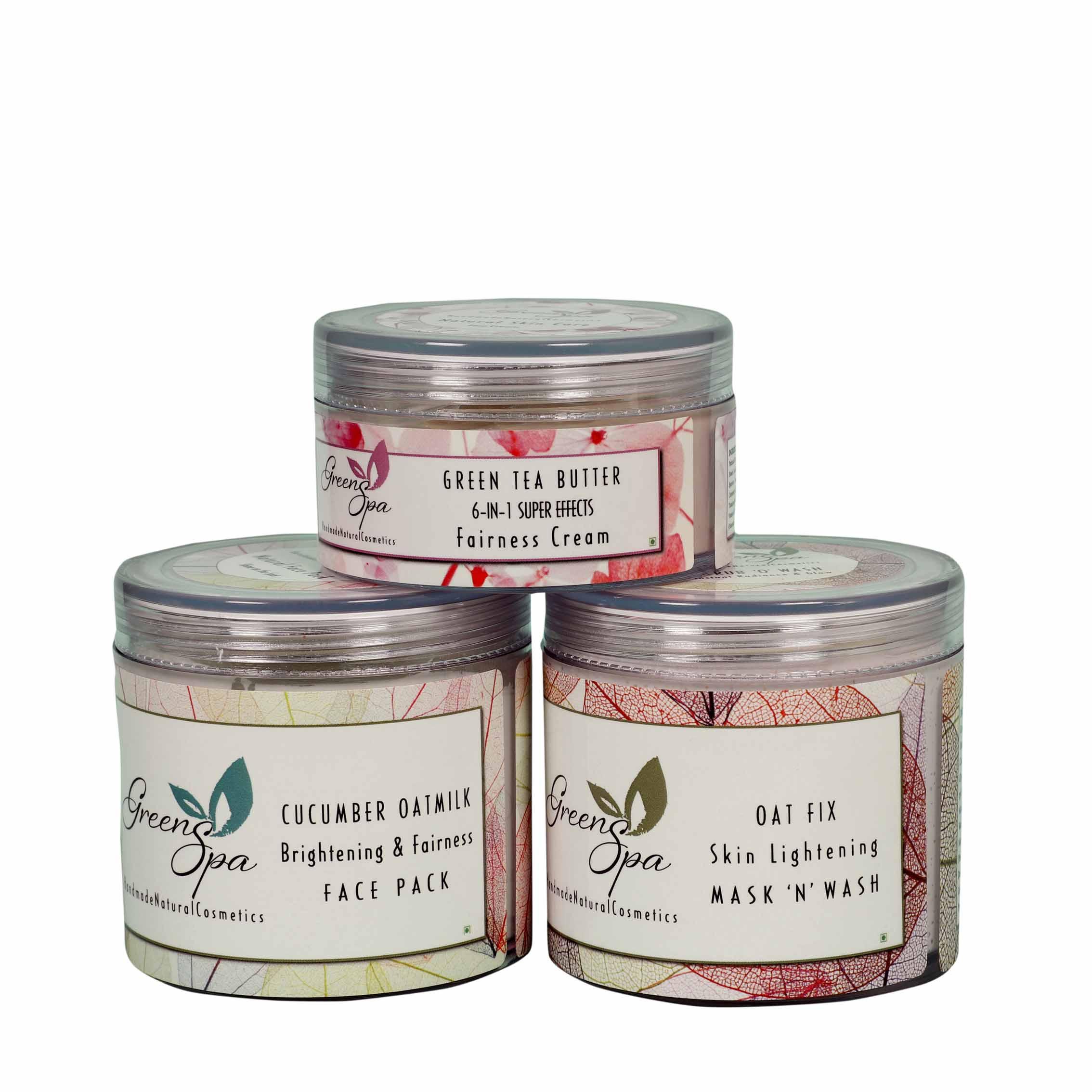 Greenspa Skin Lightening Formulation - Scrub+Pack+Cream  Facial Kit 250 gm Pack of 3