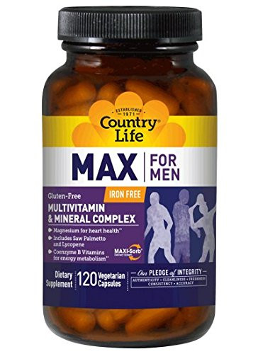 Country Life, Max for Men, Multivitamin & Mineral, Iron-Free, 120 Veggie Caps