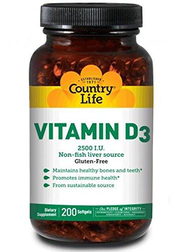 Country Life, Vitamin D3, 2500 I.U., 200 Softgels.