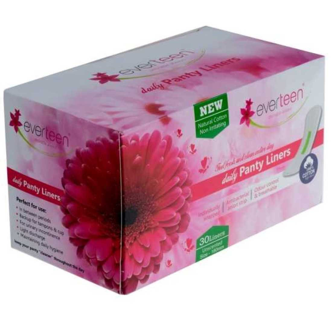 everteen® 100% Natural Cotton Daily Panty Liners for Women - 1 Pack (30pcs)