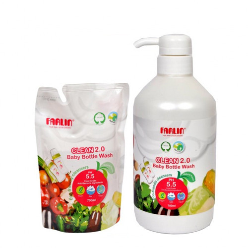 Farlin Eco-Friendly Liquid Cleanser 2.0 for Baby Bottles, Accessories, Fruits and Vegetables 700ml Bottle with Refill Pack 700ml (Combo Pack)  (White)