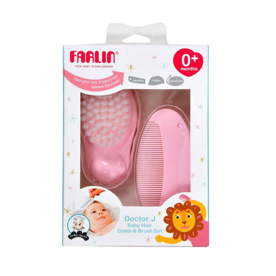Farlin Doctor J. Comb & Brush Set-Pink