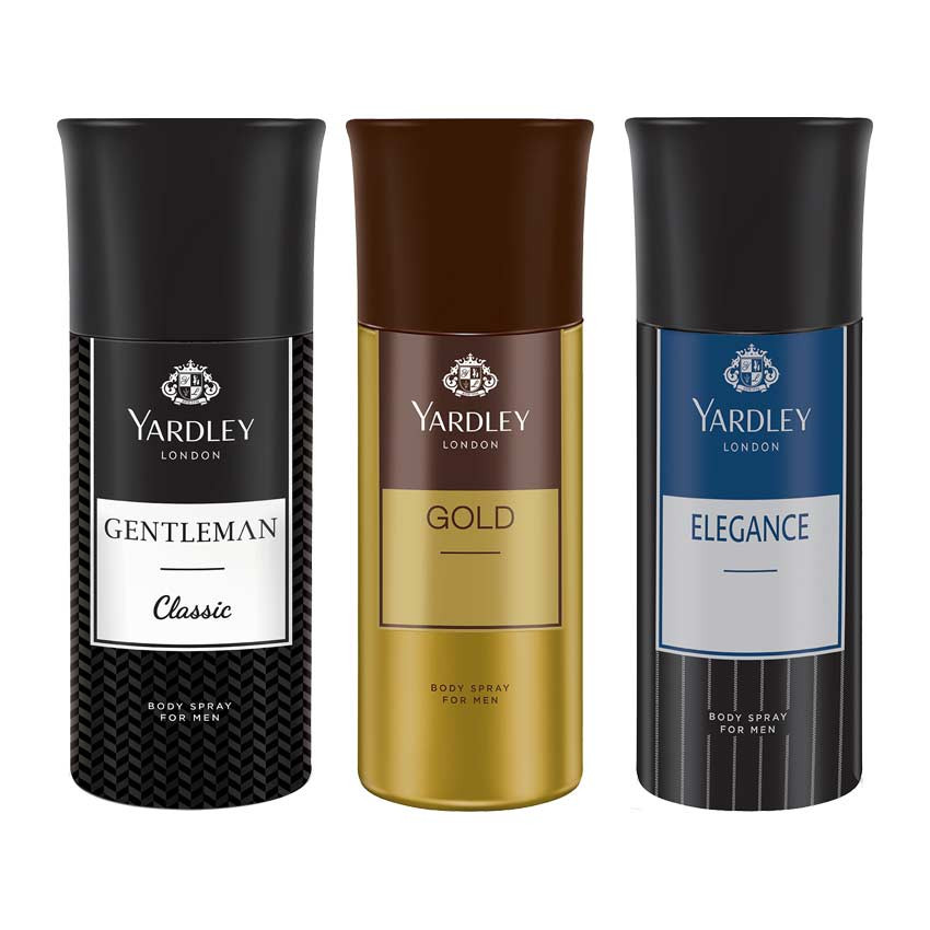 Yardley Gentleman, Gold And Elegance Deo (Pack Of 3) 150ml Each
