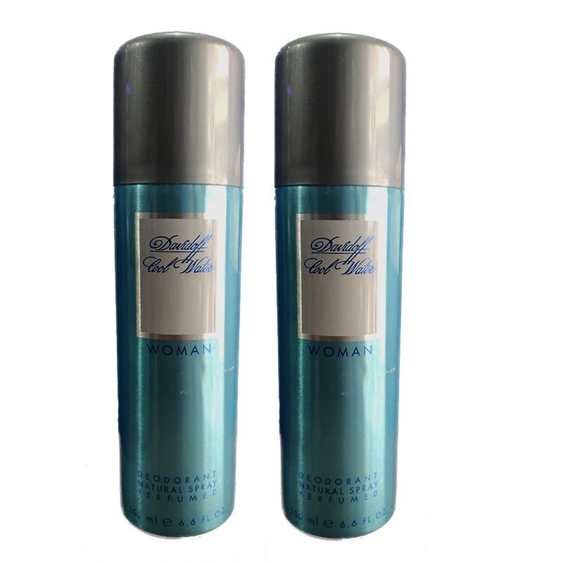 Davidoff Cool Water Woman Deodorant 200Ml (Pack Of 2)