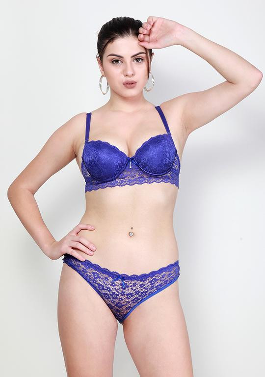 Makclan Plunge n Net Lace Voilet Crush Blue Lingerie Set