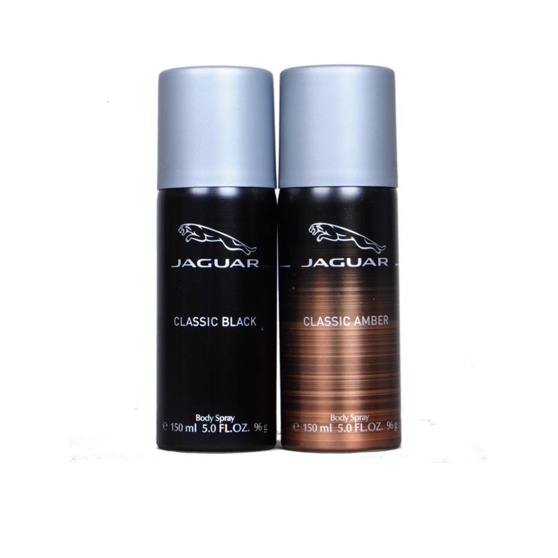 Jaguar classic black ,classic amber Deodorant Spray - For Men (150 ml, Pack of 2)