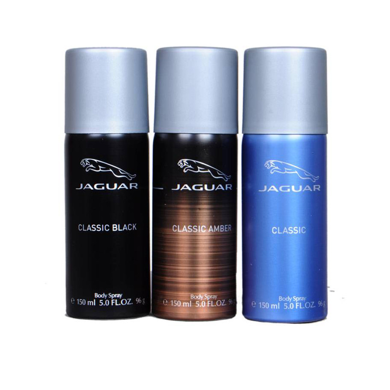 Jaguar classic black,classic amber,classic blue Deodorant Spray - For Men   (150 ml, Pack of 3)