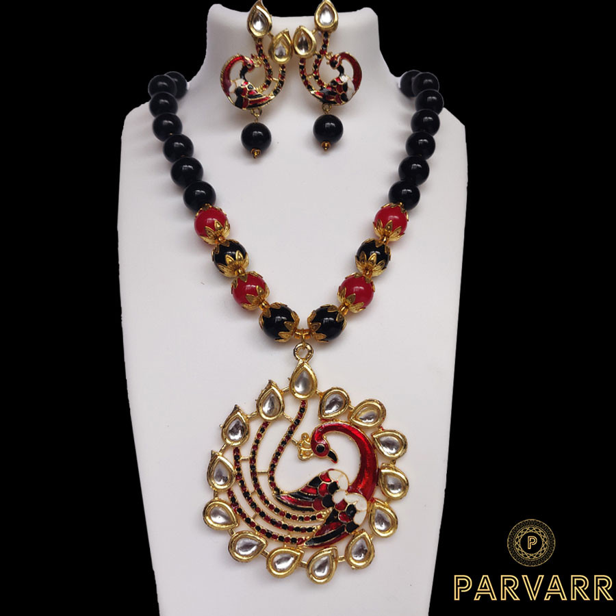 Parvarr Peacock Kundan Pearl Drop Necklace Set for Women