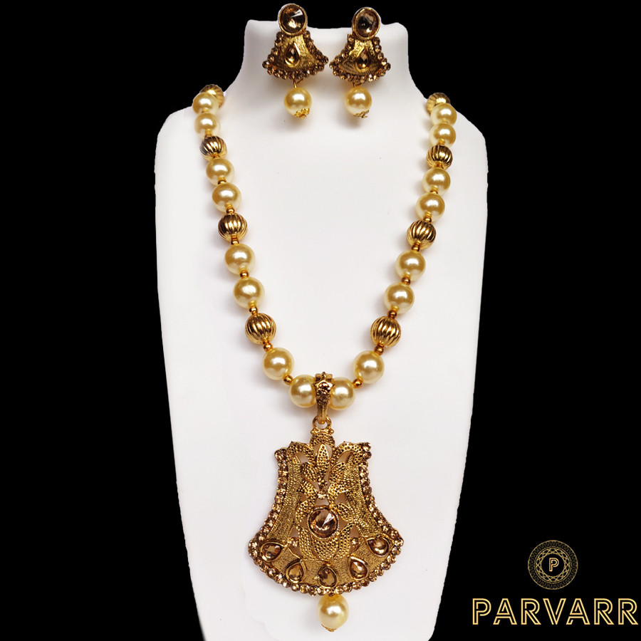 Parvarr Gold Traditional Kundan Pearl Necklace Set for Women