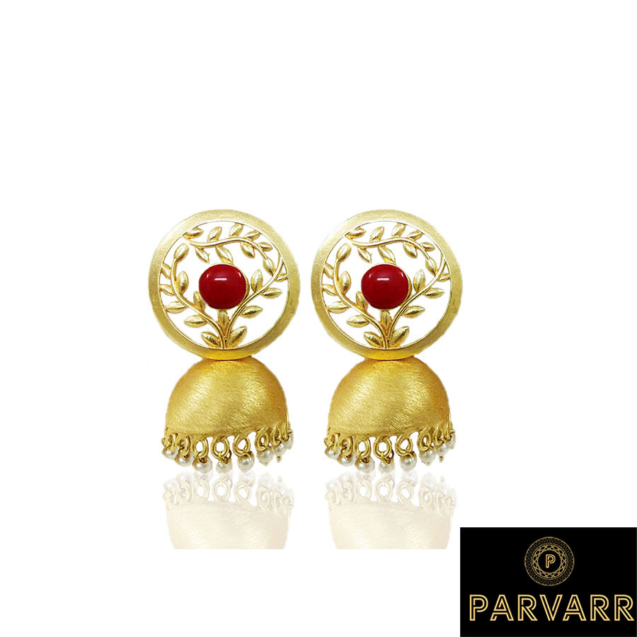 Parvarr  Gold Plated Traditional Red Pearl Jhumki Earrings